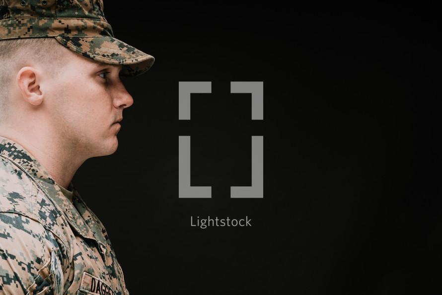 side profile of a Marine in uniform