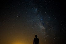 silhouette of a man and milky way