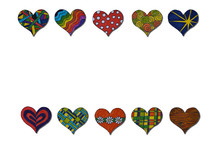 colorful hearts border