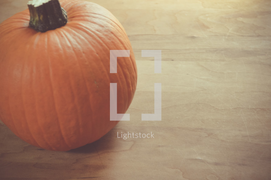 orange pumpkin on a wood background
