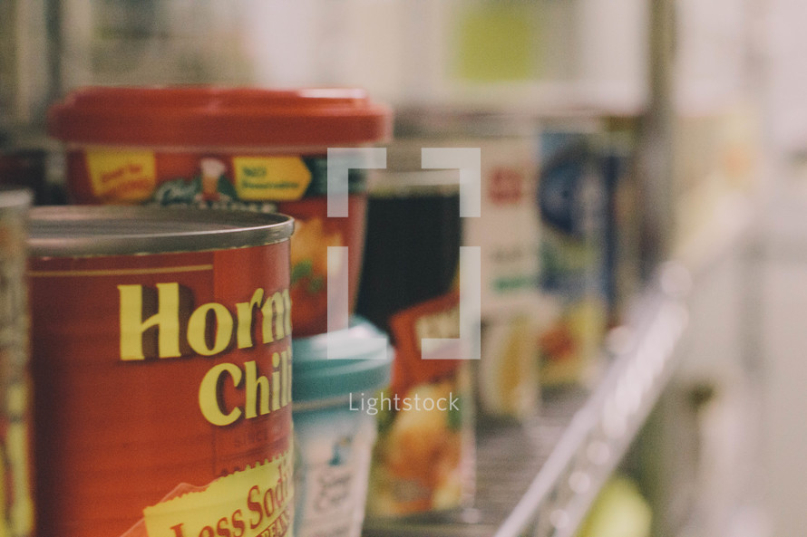 canned goods at a food bank