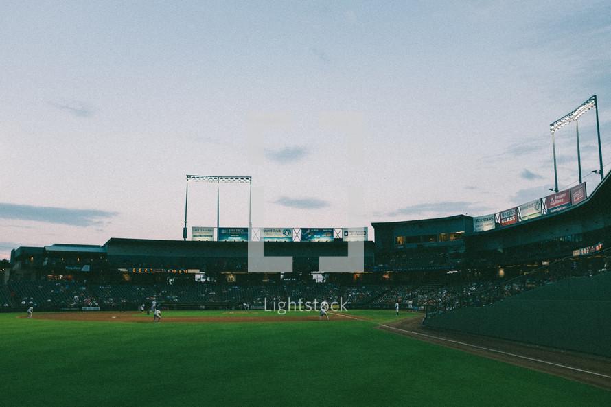 baseball stadium at night
