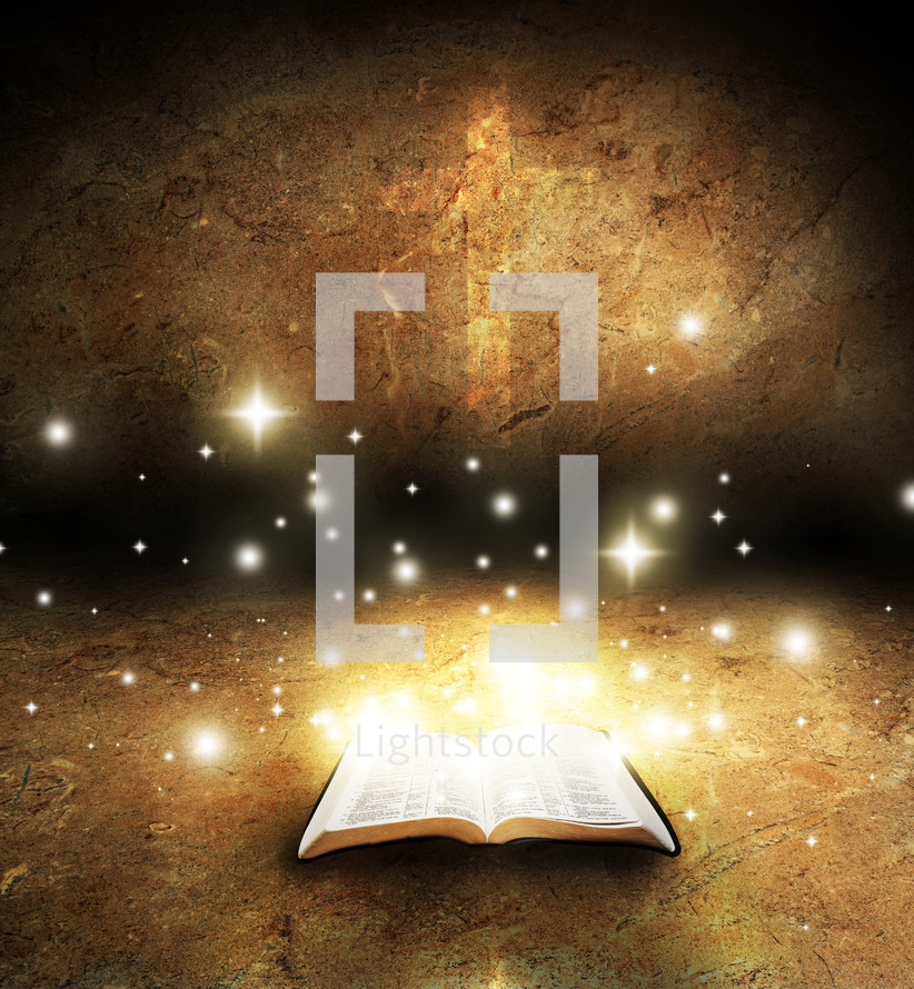 twinkling light from a glowing Bible
