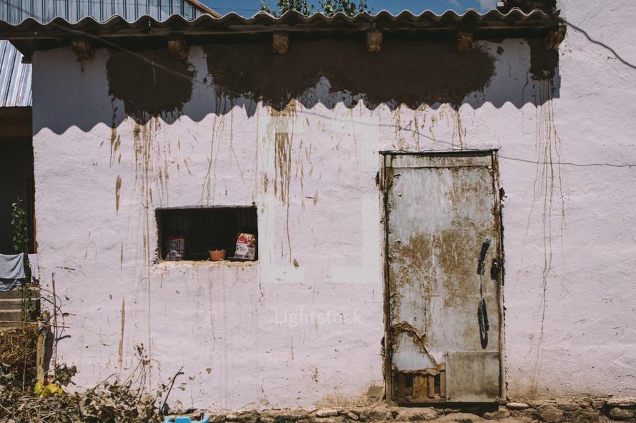 rusty building and door