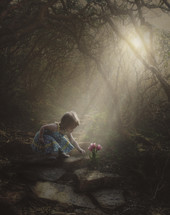 a toddler reaching for flowers under rays of sunlight along a forest path