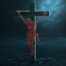 Jesus silhouette in words on a cross