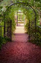 arbor arch in a garden
