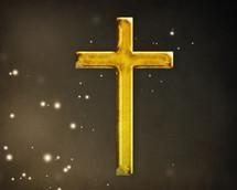 Gold cross floating.