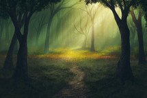 rays of sunlight in a forest