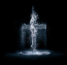 splashing water in the shape of a cross