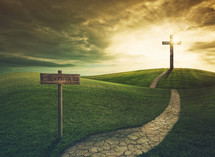 redemption sign and a path to a cross