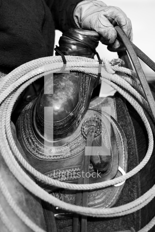 rope on a saddle
