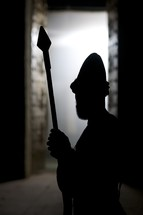 silhouette of a temple guard