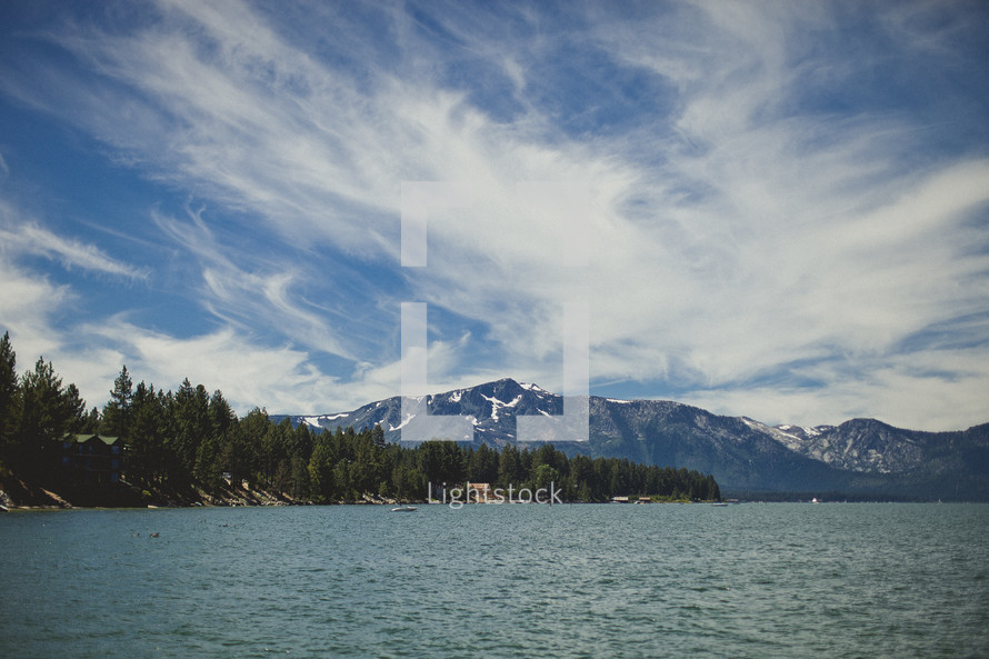 Lake Tahoe and the surrounding mountains