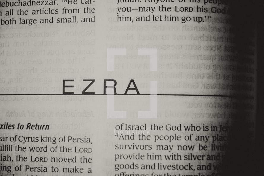Open Bible in book of Ezra
