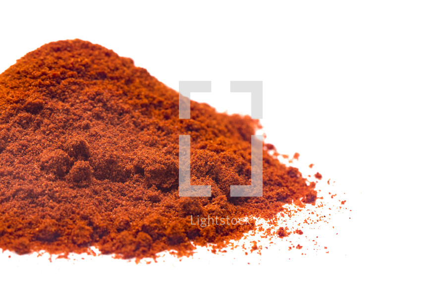 Powdered Paprika on a White Background