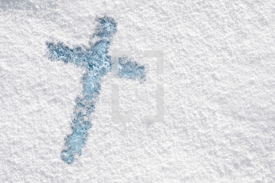 Cross in the new snow.