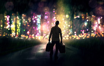 silhouette of a man holding luggage in a colorful glowing forest