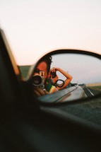 rearview mirror, taking a picture