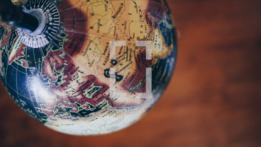 overhead a globe