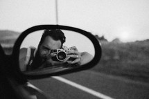 rear view mirror, taking a picture