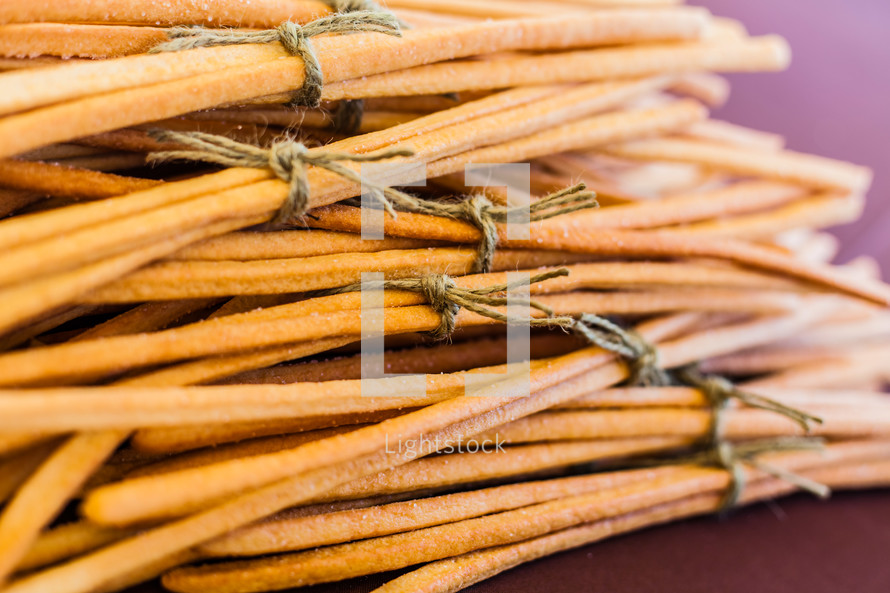 Bread sticks tied twine