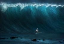 large wave crashing over a sailboat