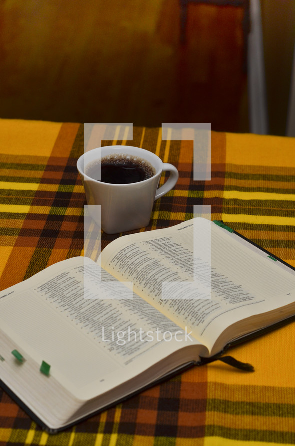 Bible and coffee mug on a plaid table cloth