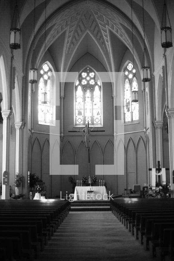 altar and an empty church.