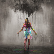 black cloud over a colorful woman