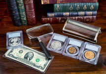 coin collection on a desk