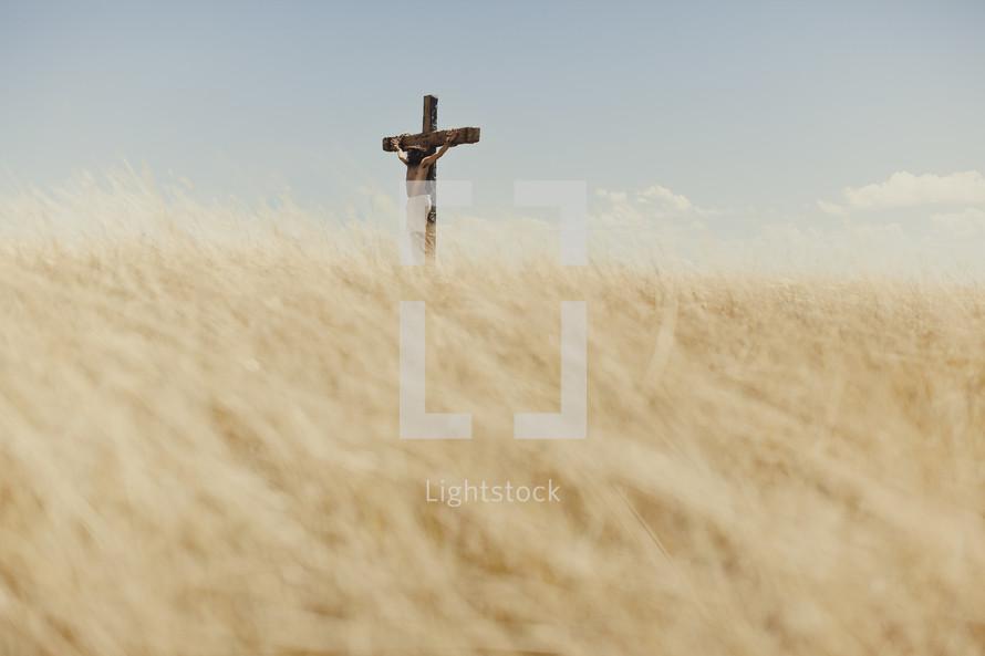 Jesus hanging on a cross in a field