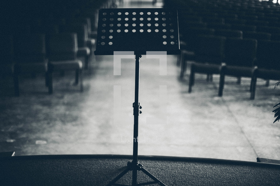 Bible stand on stage in a church