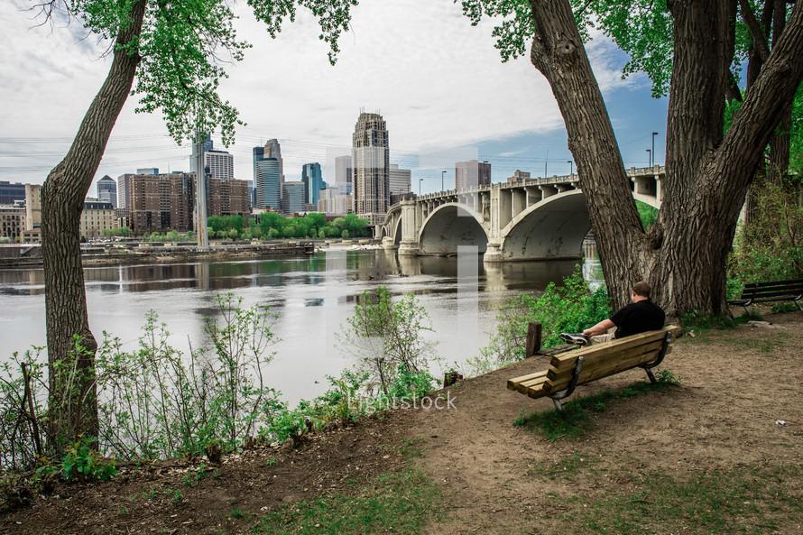 city view across a river