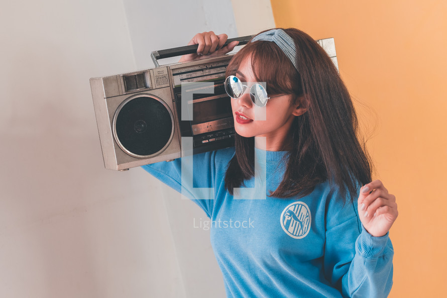 woman with a boombox
