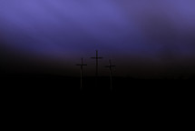 purple sky and Good Friday crosses