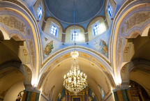 Interior of the Roman Catholic Cathedral of St John the Baptist, Fira, Santorini island, Greece