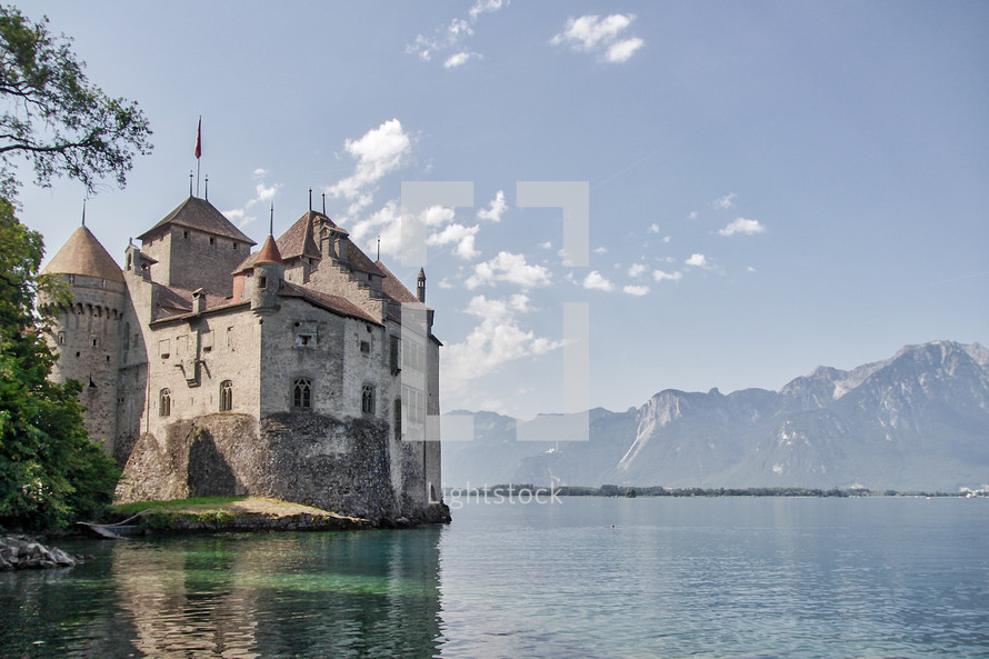 a castle on a shore