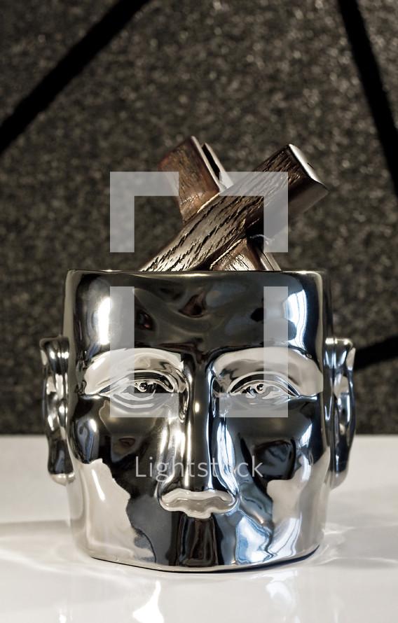 Mind on Jesus; metal head with skull inside.
