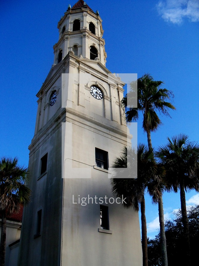 Old clock tower building in historic Saint Augustine, Florida