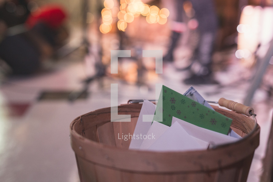 Christmas cards in a basket