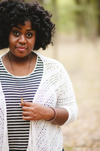 necklace, portrait, African American, woman, outdoors, sweater