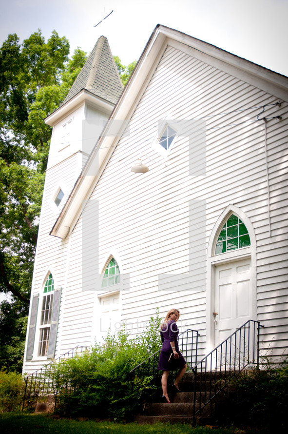 white church and steeple