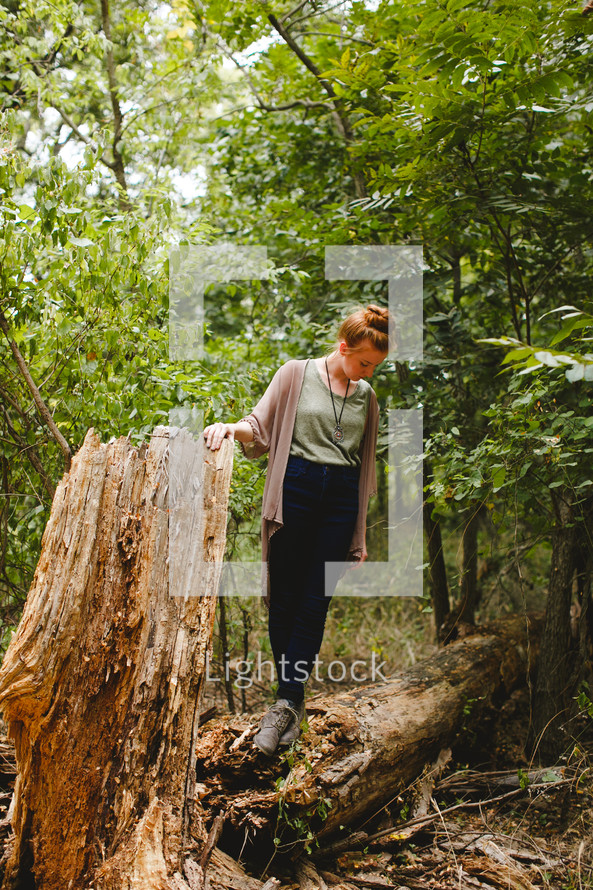 woman, standing, outdoors, posing, fallen tree, log, outdoors, portrait