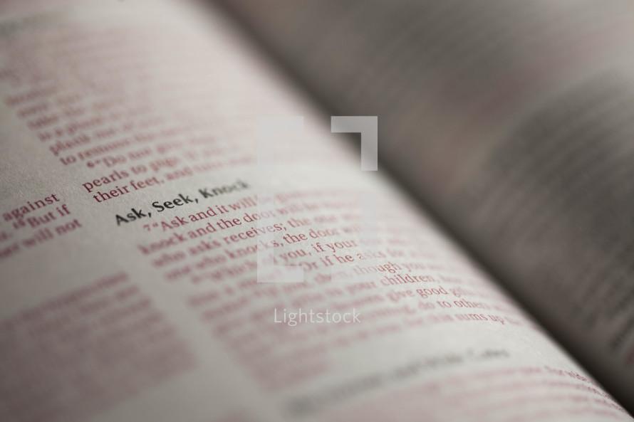 Highlighted Bible verse of ask, seek, knock.
