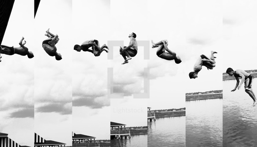 stills of a man jumping and flipping into a lake