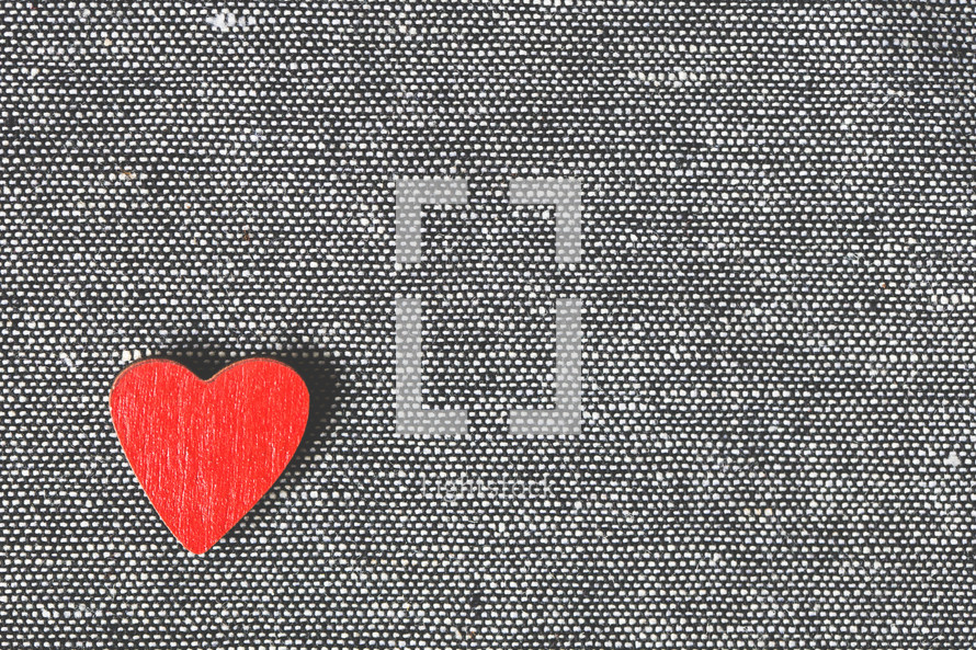 red heart on fabric