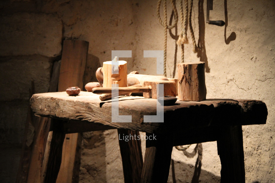 Carpenters table and tools in Nazareth, Israel