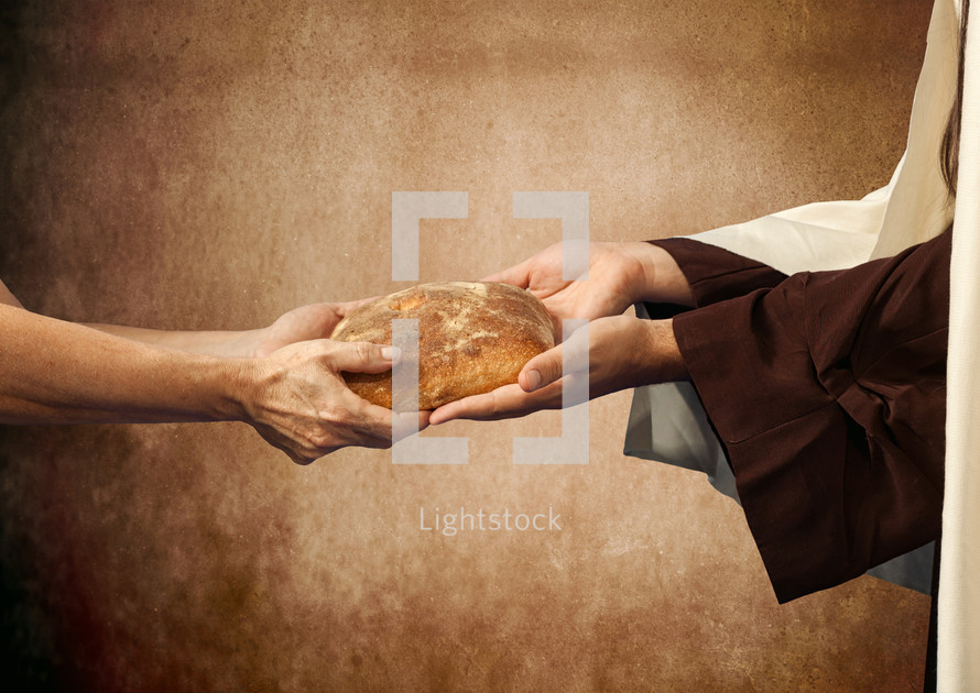 Jesus gives the bread to a beggar on brown background