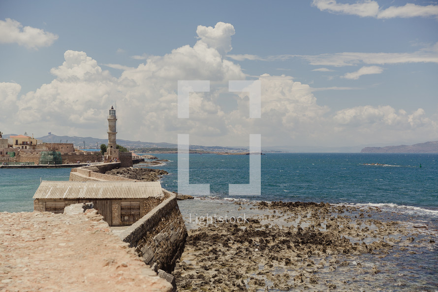 sea wall, monument, fortress, coastline, Greece, ocean, water, clouds, outdoors, barrier